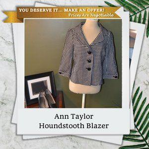 Ann Taylor 6 Black White Houndstooth Blazer